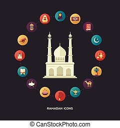 Postcard template with islamic culture icons