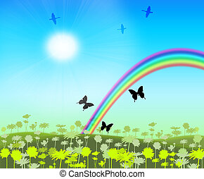 Rainbow on floral meadow with flitting butterfly