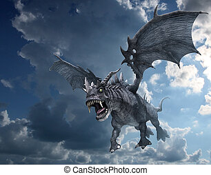 Dragon Attacking from the Sky - A fierce dragon begins to...