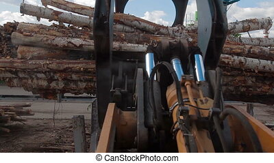 LOG PICKER DOZER AT LUMBER FACTORY AND TREES - LOG PICKER...