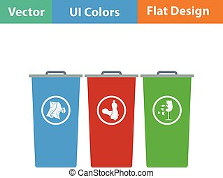Garbage containers with separated trash icon Flat design...