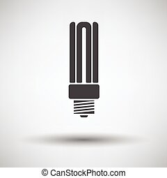 Energy saving light bulb icon on gray background with round...