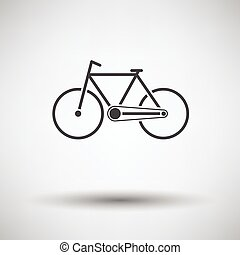 Ecological bike icon on gray background with round shadow....