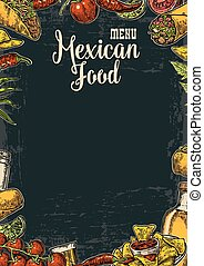 Mexican traditional food restaurant menu template with spicy dish.
