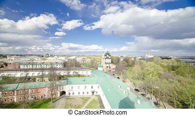 Panorama of the city of Yaroslavl timelapse from the bell...