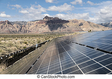 Solar Power Panels at Red Rock Canyon National Conservation Area
