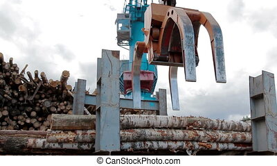 Modern lumber factory Crane load log trucks - Lumber...