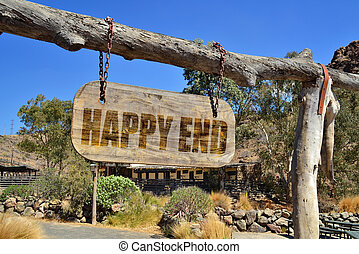 """old wood signboard with text """"happy end """" hanging..."""