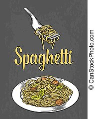 Spaghetti on fork and plate. Engraving color