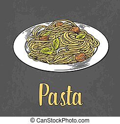Pasta on plate. Engraving color illustration