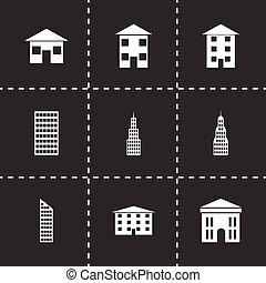 Vector black buildings icon set