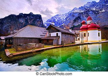 St Bartholomew church on mountain lake Konigsee in german...