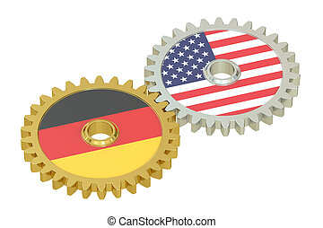 Germany and United States relations concept, flags on a...