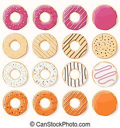 Collection of sixteen glazed colorful donuts with different...