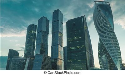 Skyscrapers of Moscow city business district in evening 4K time lapse