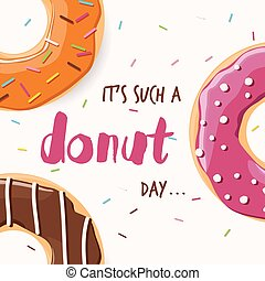 Poster design with colorful glossy tasty donuts