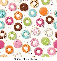 Seamless pattern with colorful tasty glossy donuts, vector...