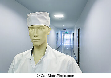 Mannequin in the doctor costume - Close up of mannequin in...