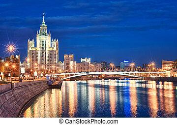 Moscow's historical skyscraper Kotelnicheskaya on Moskva...
