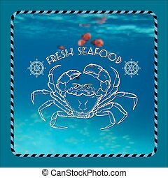Vector  label with crab silhouette, nautical accessory and words