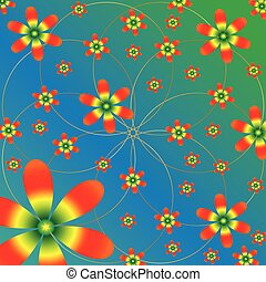 Vector floral pattern on blue green