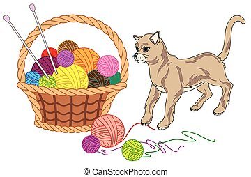 Basket with balls of yarn and cat - vector illustration