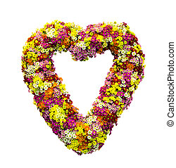 Flower heart - Little flowers in the shape of heart isolated...