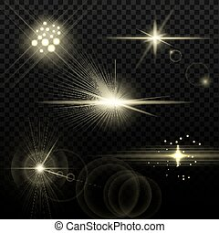 Light Yellow Optical Lens Flares - Set of transparent stars...