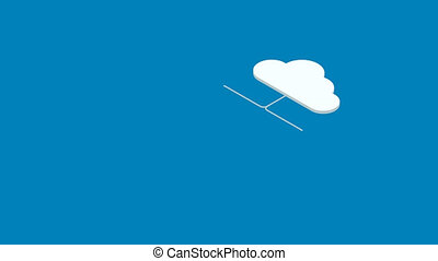 footage motion isometric cloud servise background. Animation...