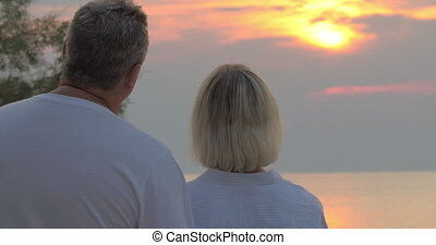 Time to see the sunset - Back shot of senior couple looking...