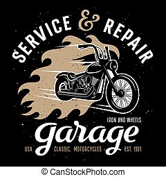 Garage 001 - Classic chopper motorcycle with fire flame /...