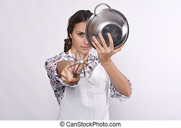 Chef woman - Portrait of young beautiful chef pointing to...