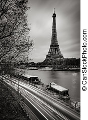 Eiffel Tower and Seine River in early morning, Paris, France...