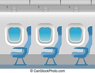Aircraft cabin with passenger seats.  Vector illustration