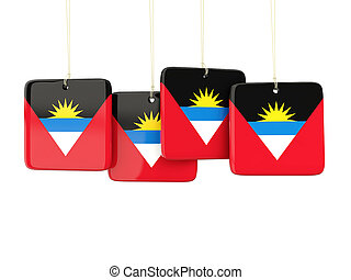 Square labels with flag of antigua and barbuda 3D...