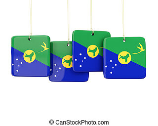 Square labels with flag of christmas island 3D illustration