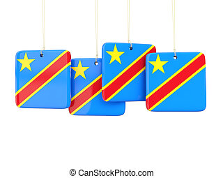 Square labels with flag of democratic republic of the congo...