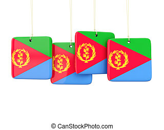 Square labels with flag of eritrea 3D illustration