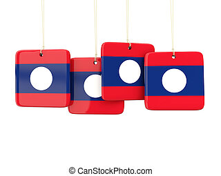 Square labels with flag of laos 3D illustration