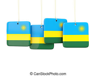 Square labels with flag of rwanda 3D illustration