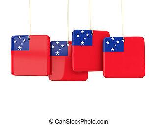 quadrato, ETICHETTE, con, bandiera, di, Samoa,