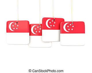 Square labels with flag of singapore 3D illustration