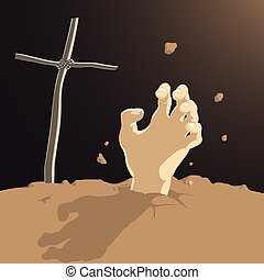 Resurrection - Vector Illustration Of A Human Hand Breaking...