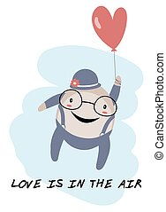 Humpty Dumpty with balloon Love is in the air theme Isolated...