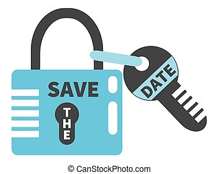 Padlock and key with words SAVE THE DATE. Typographic design element