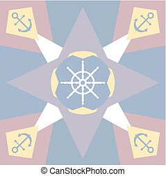 Pastel colored background with anchor and rudder - Pastel...