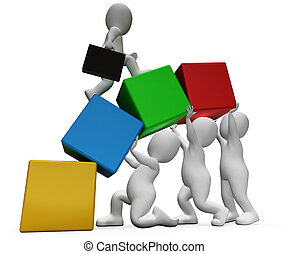 Characters Climb Shows Team Work And Businessman 3d...