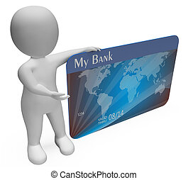 Credit Card Represents Buyer Bankrupt And Banking 3d...