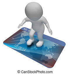 Credit Card Indicates Bankrupt Poverty And Shopping 3d...