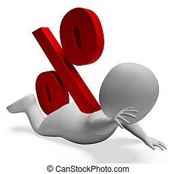 Debt Problem Shows Percentage Sign And Broke 3d Rendering -...